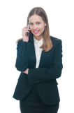 Businesswoman or secretary talking by phone Royalty Free Stock Image