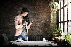 Businesswoman Secretary Using Mobile Phone Concept Stock Image