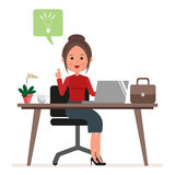 Businesswoman or secretary works at the computer. A woman has a new idea or inspiration. Flat character isolated on Royalty Free Stock Photography