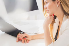 Businesswoman seductively holding colleague`s hand Royalty Free Stock Photo
