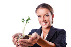 Businesswoman with seedling Stock Images