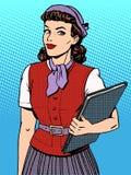 Businesswoman seller consultant hostess. Pop art retro style royalty free illustration