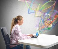 Businesswoman send mail Stock Photos