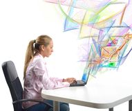 Businesswoman send mail Stock Image