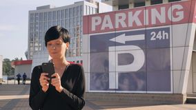 Businesswoman send message chatting on smart phone. royalty free stock photography