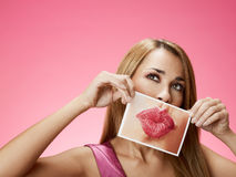 Businesswoman sending big kiss Stock Image