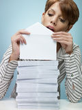 Businesswoman sending mail stock images