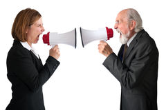 Businesswoman and senior manager megaphones. Businesswoman and senior male manager with megaphones on white Stock Photo