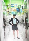 Businesswoman and servers wearing VR Virtual Reality Headset with Interface. Digital composite of Businesswoman and servers wearing VR Virtual Reality Headset Stock Image