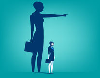 Businesswoman shadow pointing with him. Concept business illustration. Vector flat Royalty Free Stock Photography