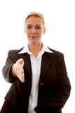 Businesswoman is shaking hand Stock Images