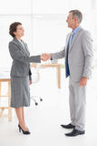 Businesswoman shaking hands with a businessman Royalty Free Stock Photos