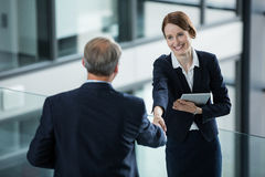 Businesswoman shaking hands with her colleague Royalty Free Stock Photography