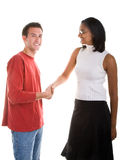 Businesswoman Shaking Hands With Casual Man Royalty Free Stock Photo