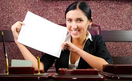 Businesswoman with a sheet of paper Royalty Free Stock Photos
