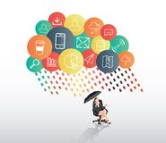 Businesswoman sheltering from app cloud Stock Images