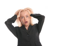 Businesswoman in a shock Stock Images