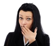 Businesswoman in shock Stock Photos