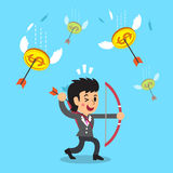 Businesswoman shooting money coins with a bow and arrows Royalty Free Stock Photo