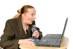 Businesswoman shooting online Stock Photography