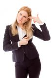 Businesswoman shooting self in head Stock Image