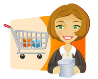 Businesswoman with shopping cart. Young businesswoman with shopping cart holding a box Royalty Free Stock Image
