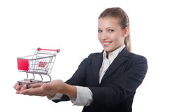 Businesswoman with shopping cart Stock Image
