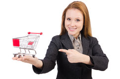 Businesswoman with shopping cart Royalty Free Stock Image