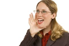 Businesswoman Shouting. Businesswoman isolated on white shouting into camera Stock Photography
