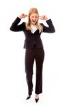 Businesswoman shouting in frustration Stock Photo