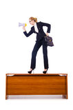 Businesswoman shouting through loudspeaker Stock Images