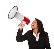 Businesswoman Shouting On Megaphone Royalty Free Stock Images