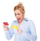 Businesswoman Shouting & Stressed at Credit Card stock images