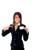 Businesswoman shoving a card pointing it Stock Image