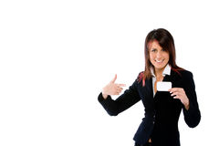 Businesswoman shoving a card pointing it Royalty Free Stock Image