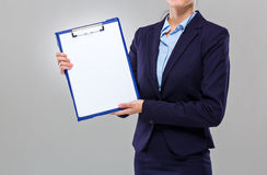 Businesswoman show with blank clipboard Stock Photo