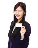 Businesswoman show with blank name card Stock Photo