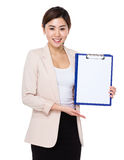 Businesswoman show with blank page of clipboard. Isolated on white background Royalty Free Stock Photo