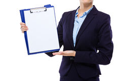 Businesswoman show with the blank paper on clipboard Royalty Free Stock Image
