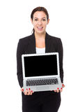 Businesswoman show with blank screen of laptop computer. Isolated on white background Royalty Free Stock Photos