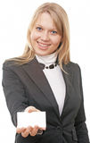 Businesswoman  show business card Stock Photo