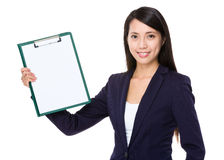 Businesswoman show with clipboard Stock Photos
