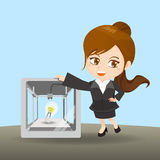 Businesswoman show 3D printer. Cartoon illustration businesswoman with the 3D printer Stock Image
