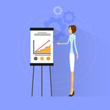 Businesswoman show graph flat design vector. Illustration Stock Photography