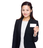 Businesswoman show name card Stock Photos