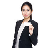 Businesswoman show name card Royalty Free Stock Images