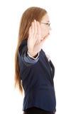 Businesswoman show NO gesture. Stock Photo