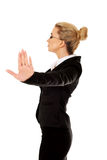 Businesswoman show NO gesture with confident expression Stock Photo