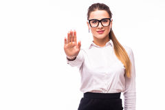 Businesswoman show NO gesture Stock Photos