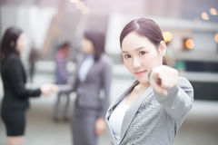 Businesswoman show something to you Stock Photos